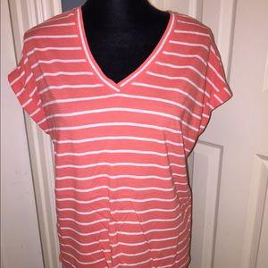 Vince Camuto Orange/White striped tee sz M